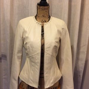 Leather cream color cropped jacket